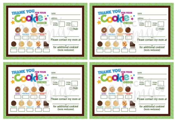 Abc Girl Scout Cookie Thank You Order Form Receipt Printable Etsy