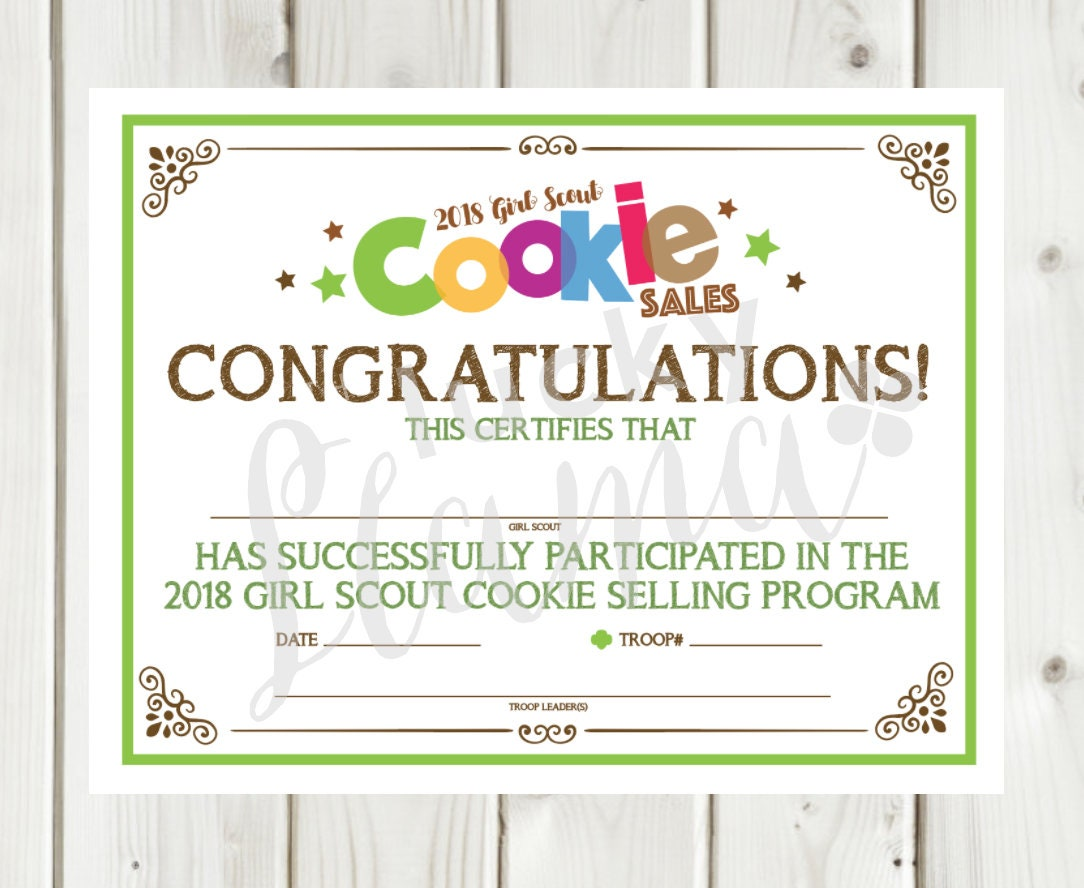 2018 Girl Scout Cookie Participation Certificate Top Seller Etsy