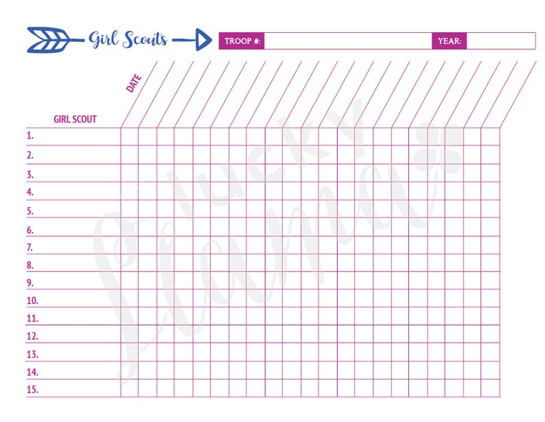 graphic about Attendance Sheet Printable called Printable Female Scout Attendance Sheet