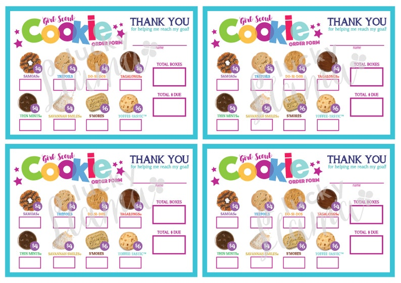 photograph regarding Girl Scout Cookies Order Form Printable called LBB Mini Woman Scout Cookie Get Sort - Printable
