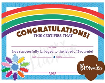 Daisy + Brownie Logo Version - Girl Scout Certificate