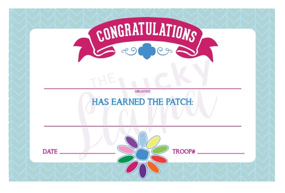 picture regarding Girl Scout Certificates Printable Free identified as Daisy Lady Scouts Petal Fill-Within just Certificates - Printable Fast Obtain