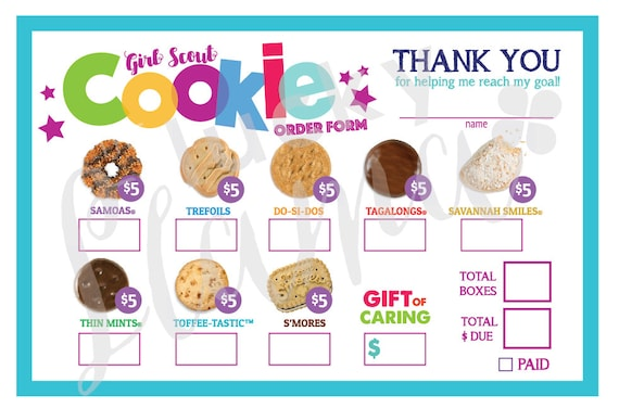 It's just a picture of Luscious Girl Scout Cookie Order Form Printable