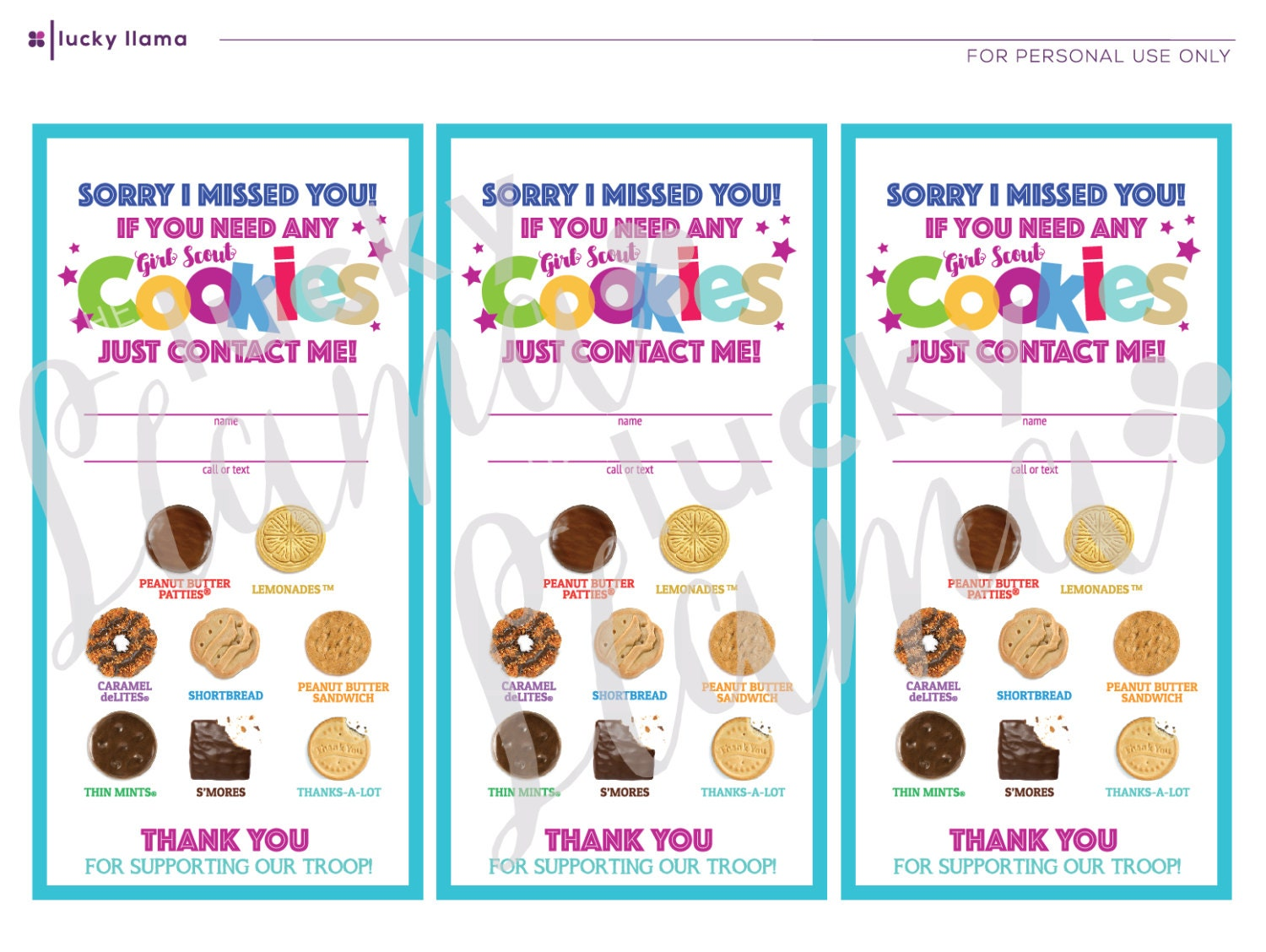 Abc Girl Scout Cookie Door Signs Sorry We Missed You Etsy