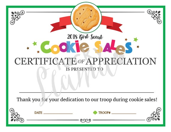 Girl Scout Cookie Mom Printable Certificate Editable Instant Etsy
