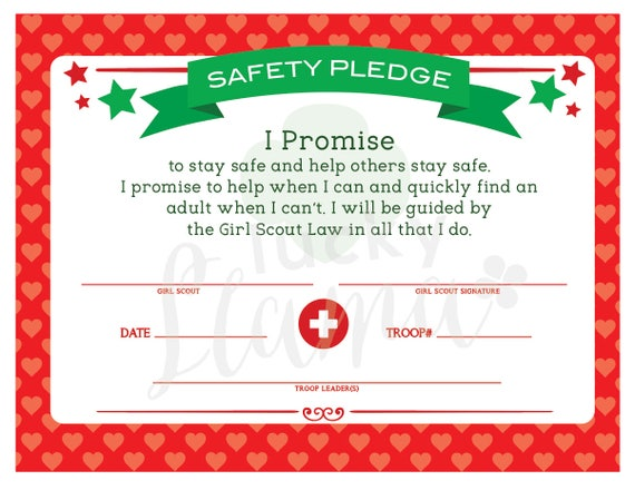 Girl Scout Safety Pledge Certificate Etsy