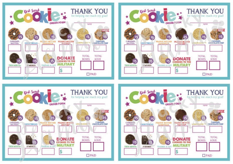 graphic relating to Printable Girl Scout Cookie Order Form named ABC Mini Woman Scout Cookie Obtain Sort (Military services Charity with Fresh Caramel Chocolate Chip) - Printable