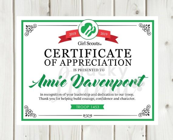 Girl Scout Leader Certificate/Award Printable Editable | Etsy