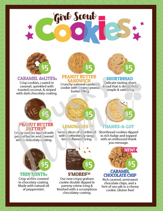 ABC Girl Scout Cookie Menu- Green & Purple 8 5 x 11 printable