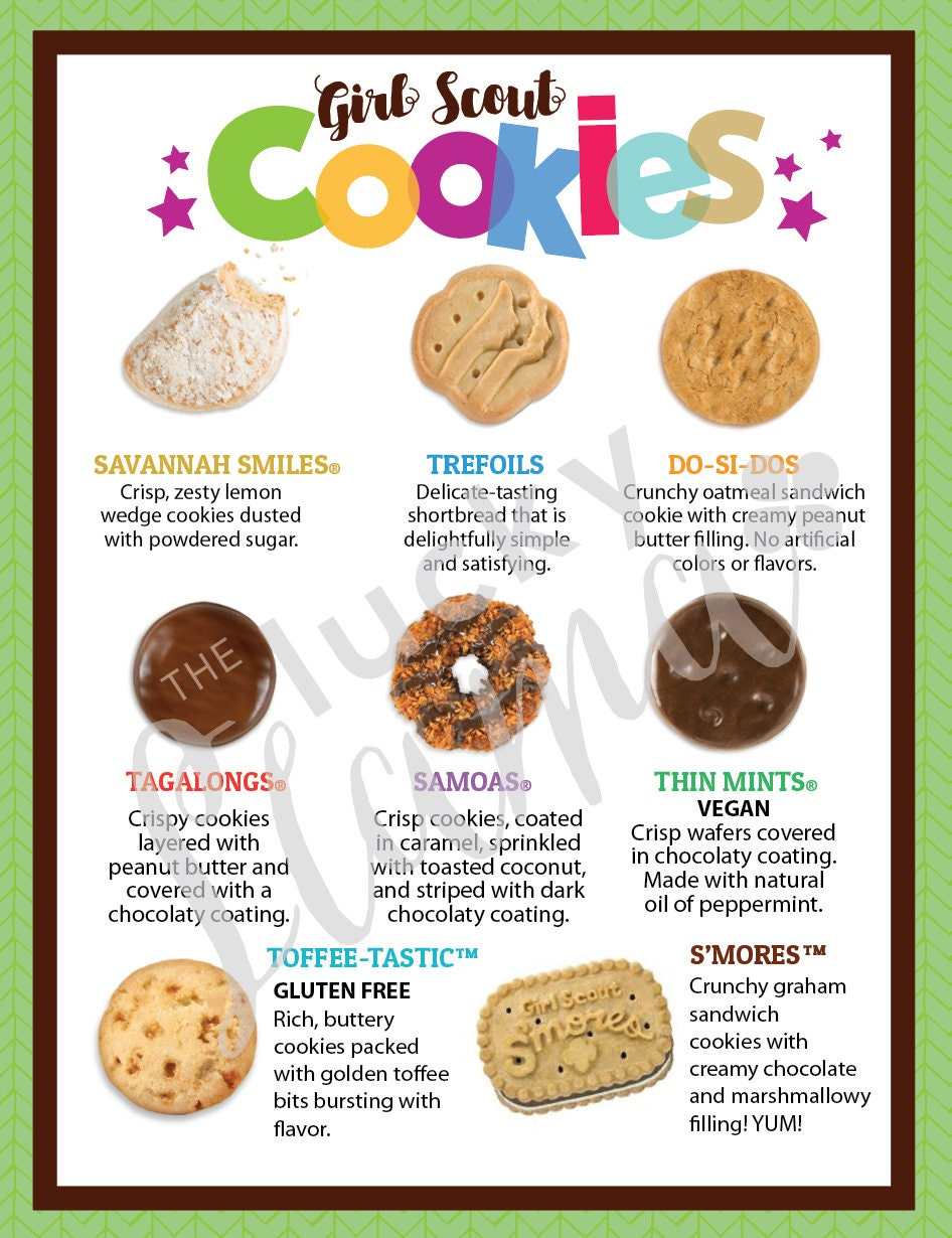 image about Printable Cookies identified as LBB Female Scout Cookie Menu 8.5 x 11 printable