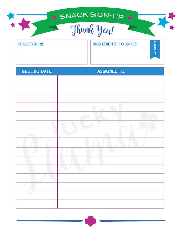 printable girl scout snack sign up sheet editable version etsy