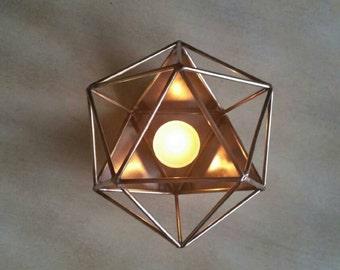 TIG welded Icosahedron candle holder.