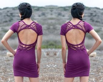 Purple Boho Mini Dress for Women   Sexy Braided Festival Dress