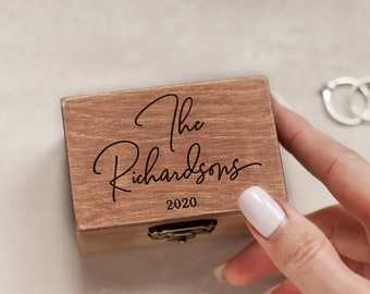 Wedding ring box for ceremony, Ring bearer box, Ring holder, Custom ring box engraved, Wooden personalized ring box Ring jewelry box