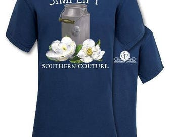 dff8e029b SC comfort colors T-Shirt Simplify - simple - milk jug - flower -  Monogrammed - personalized - custom embroidered - perfect gift - True Navy