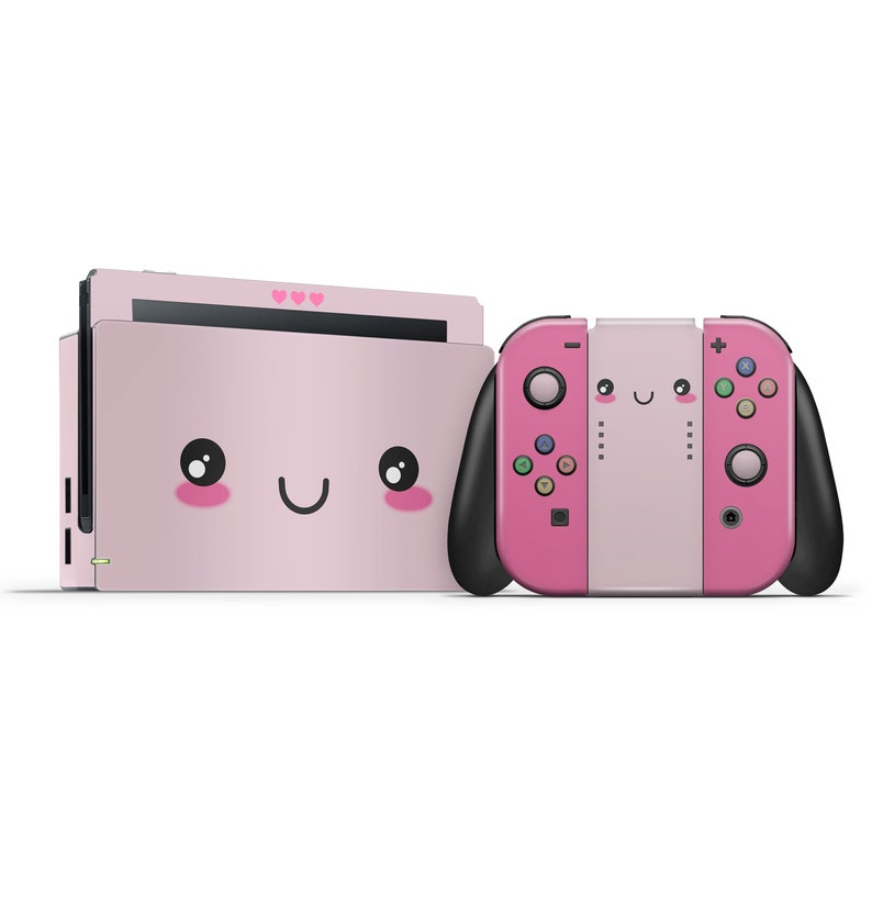 2593500f8845 Cute Kawaii Face Pink Nintendo Switch Custom Skin Set