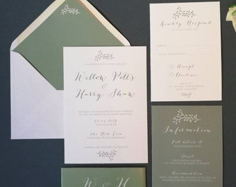 Willow Wedding Invitation Template Printable Stationery Downloadable