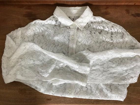 vintage lace blouse   white lace blouse medium   … - image 2