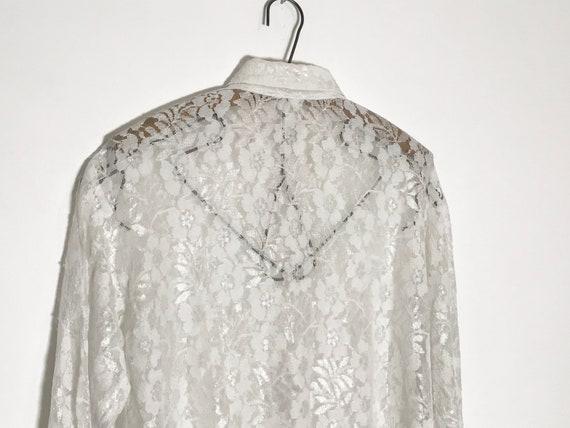 vintage lace blouse   white lace blouse medium   … - image 7