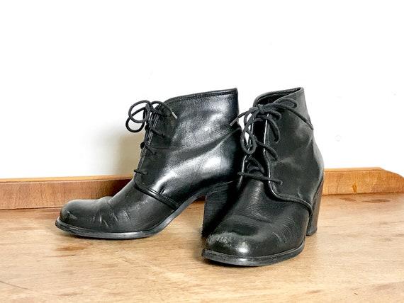 Vintage ankle boots black leather