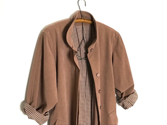 pink trench coat   dusty rose long jacket   sprin… - image 7