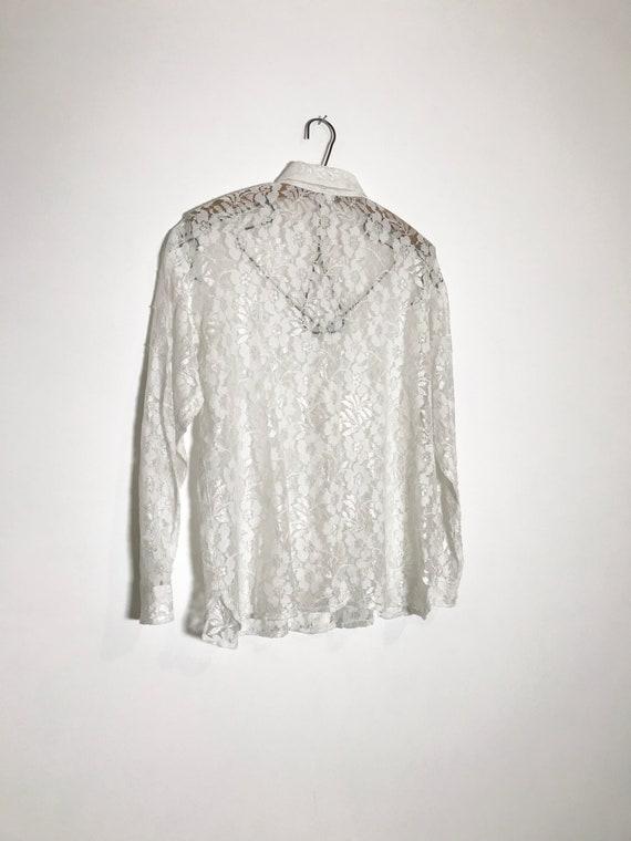 vintage lace blouse   white lace blouse medium   … - image 8