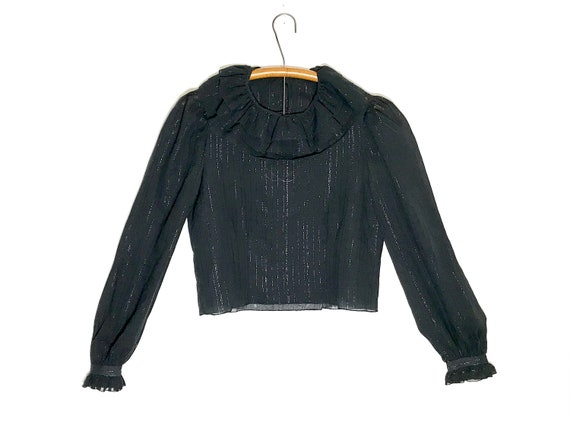 vintage black crop top | sheer ruffle top | ladies
