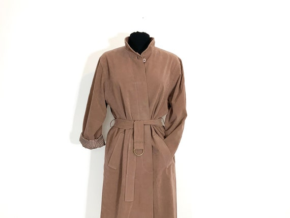 pink trench coat   dusty rose long jacket   sprin… - image 2