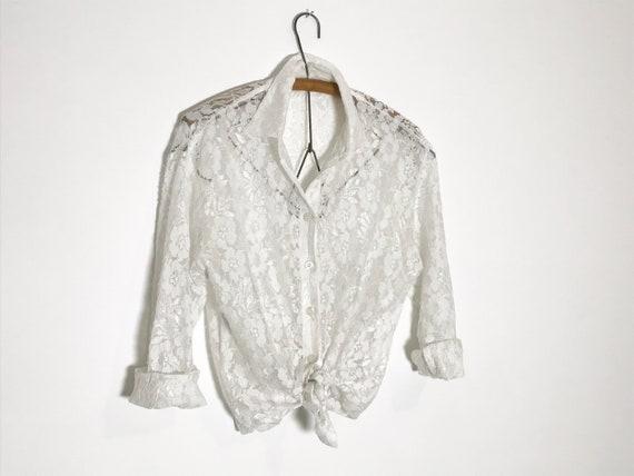 vintage lace blouse   white lace blouse medium   … - image 5