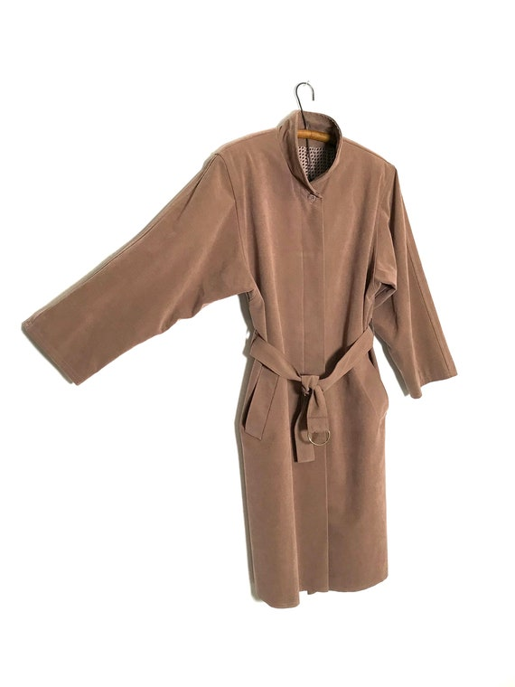 pink trench coat   dusty rose long jacket   sprin… - image 3