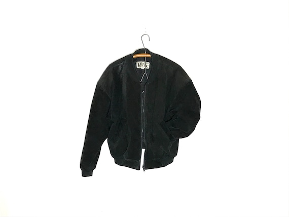 vintage black suede bomber jacket | leather bomber