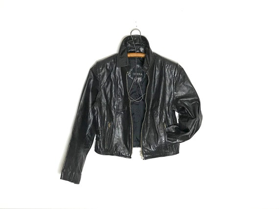 Leather Biker Jacket size small | Black Leather Ja