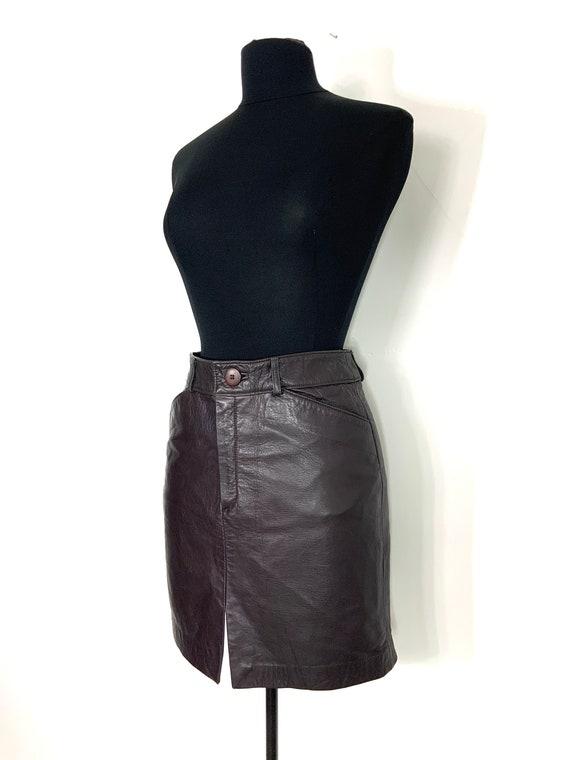 vintage leather mini skirt   leather miniskirt   … - image 3