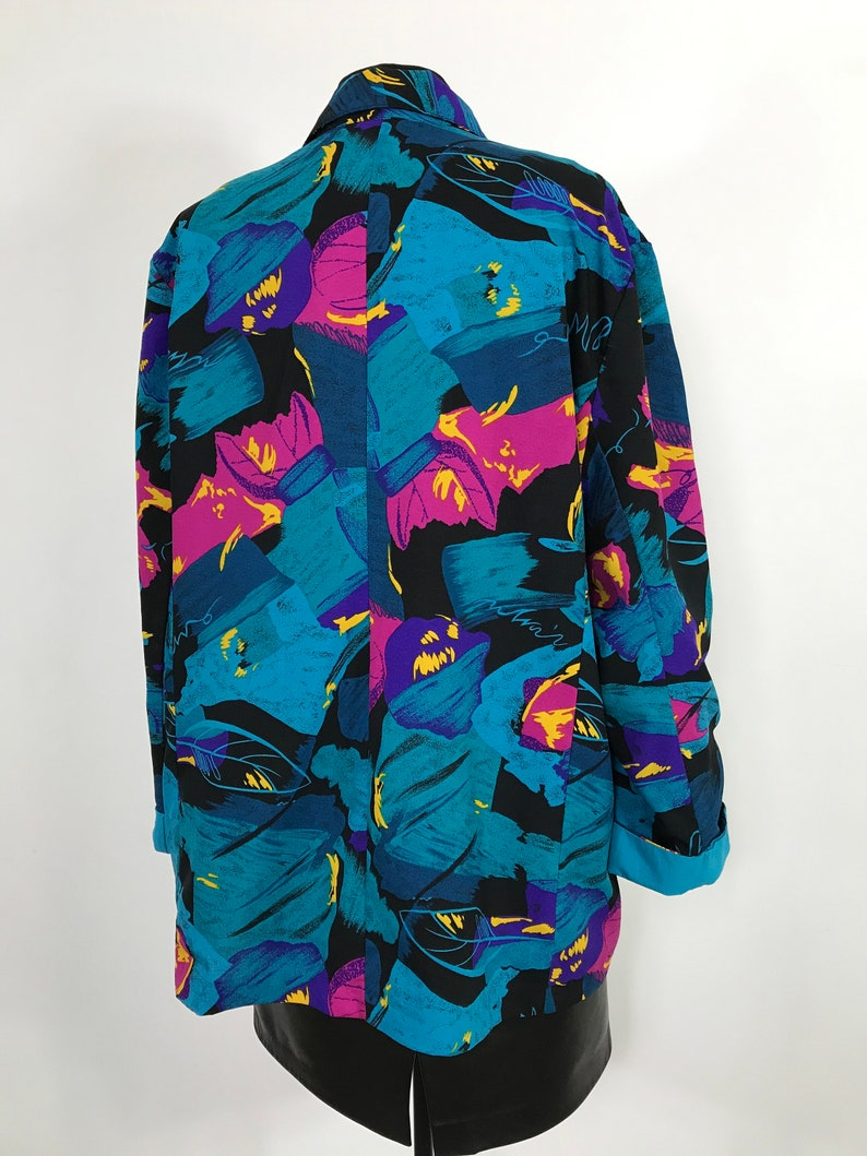light jacket large vintage blue and pink blazer boho blazer vintage patterned blazer size Large Abstract patterned blazer large