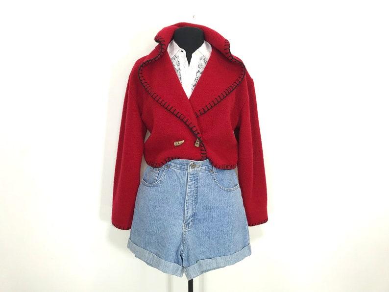 vintage red wool bolero medium | southwest wool cropped coat size medium | vintage wool cropped jacket small | boho cropped wool coat