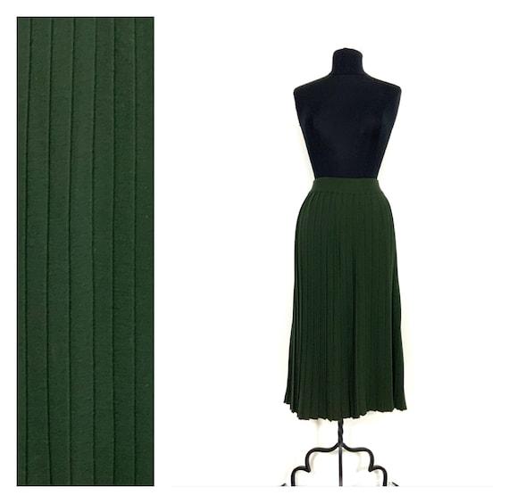 vintage knit pleated skirt midi / wool skirt / vin