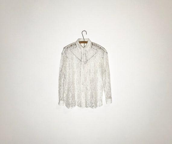 vintage lace blouse   white lace blouse medium   … - image 10