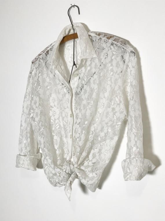 vintage lace blouse   white lace blouse medium   … - image 4