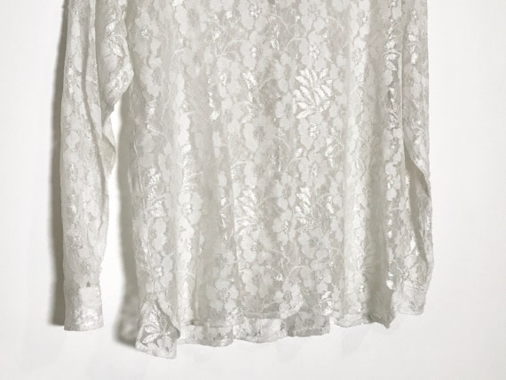 vintage lace blouse   white lace blouse medium   … - image 6