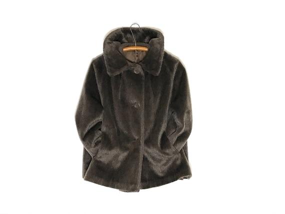 vintage faux fur coat | brown faux fur coat size s