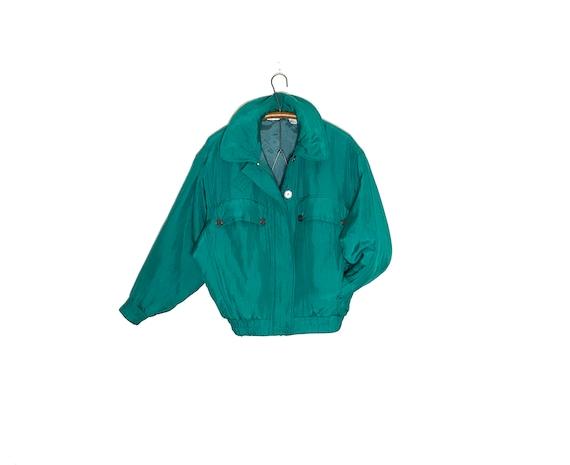 vintage silk jacket | vintage silk bomber | green