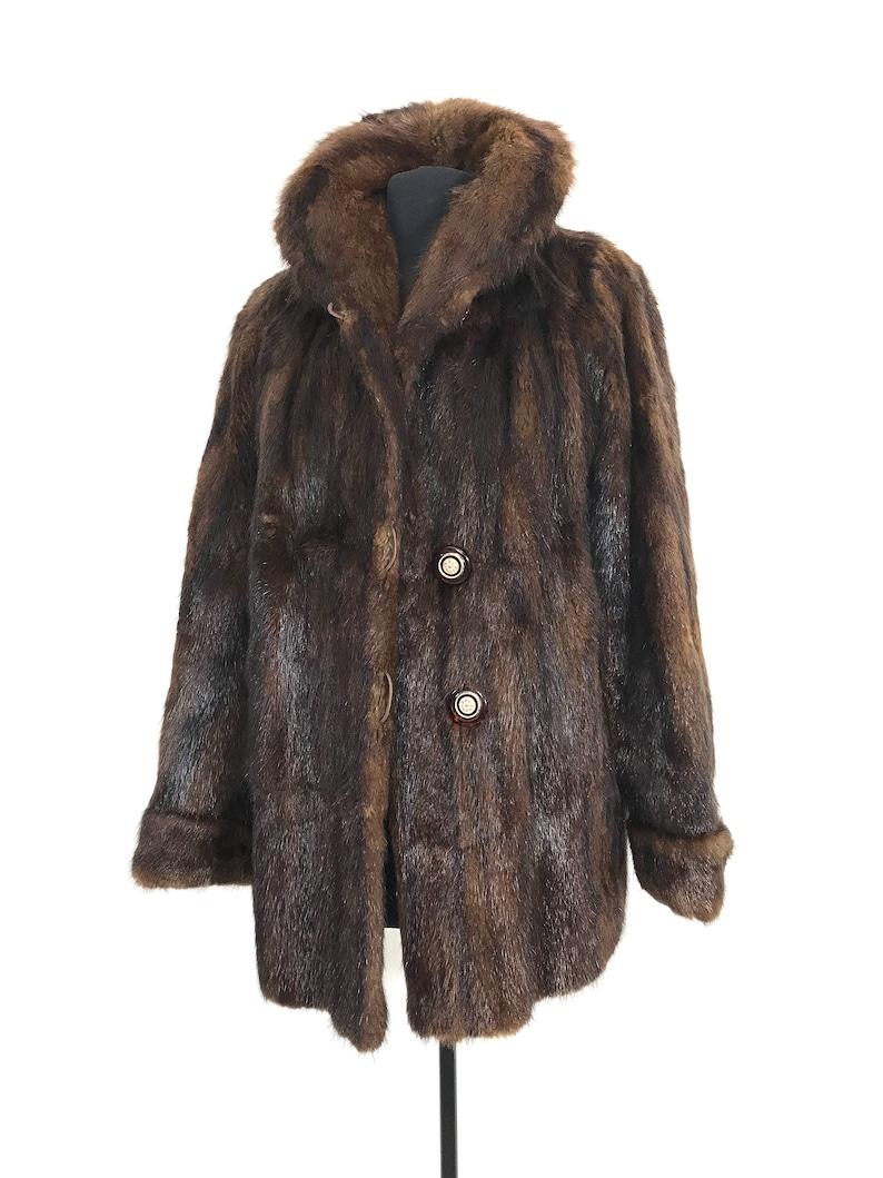 Vintage genuine Fur Coat brown Fur Coat Vintage Fur Coat Size Medium Vintage Fur Coat Minimalist Fur Coat Boho fur Coat large