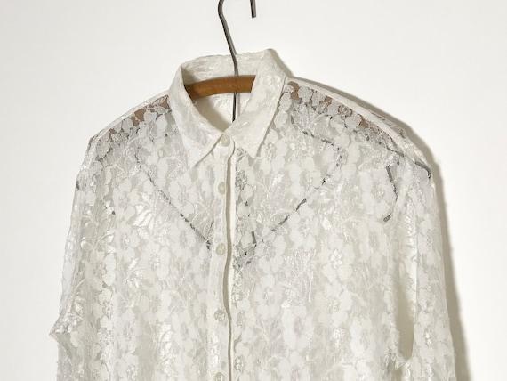 vintage lace blouse   white lace blouse medium   … - image 9