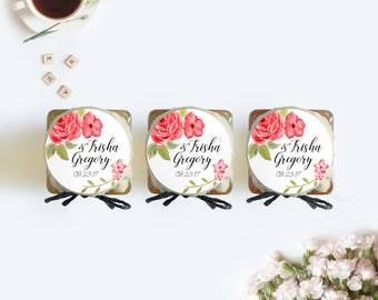 Red Rose Wedding Favor Jar Labels