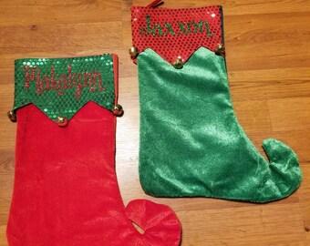 Personalized Christmas Stockings, Elf Stocking, Christmas Stockings, Stocking, Stockings