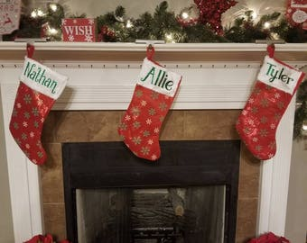 Personalized Christmas Stocking, Green and White Snowflakes,