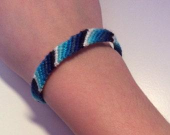 Blue ombré candy stripe friendship bracelet