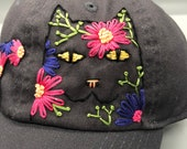 Hand Embroidered Hat: Flower Cat