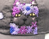 Hand-Embroidered Hat: Flower Cat