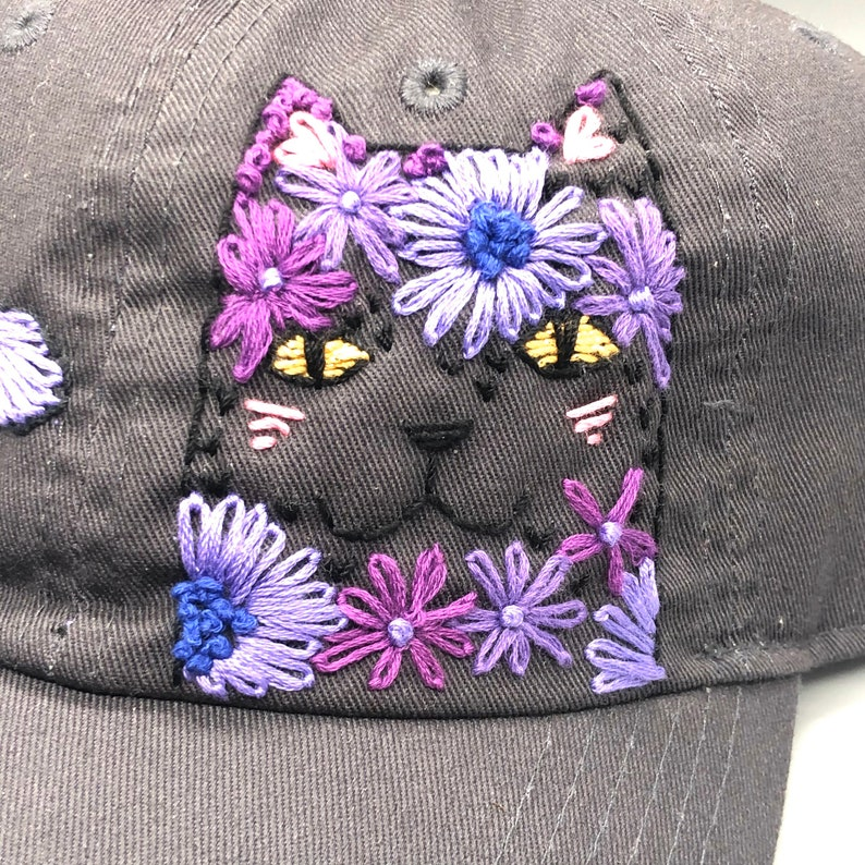 Hand-Embroidered Hat: Flower Cat image 0